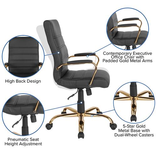 Gallery - High Back Black LeatherSoft Executive Swivel Office Chair with Gold Frame and Arms