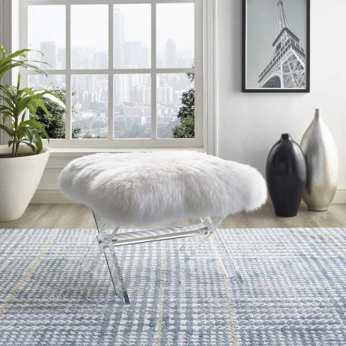 Swift Sheepskin Bench in Clear White
