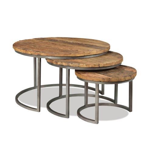 3-piece Nesting Coffee Table - Rustic Saal/bronze Metal Finish