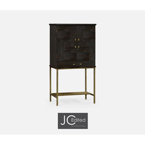 Dark Ale Drinks Cabinet with Iron Base