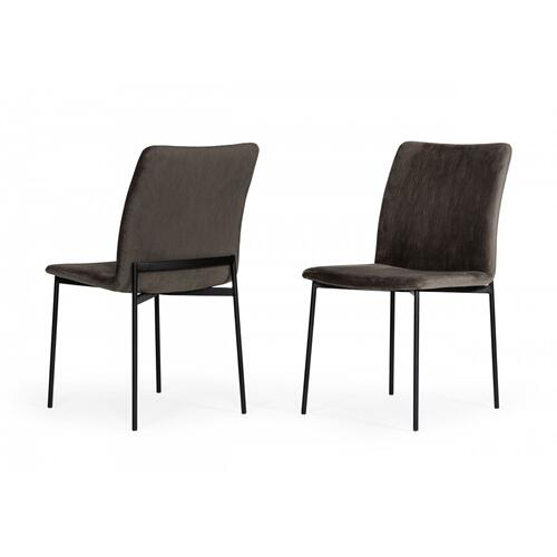 Modrest Maggie - Modern Black and Brown Dining Chair (Set of 2)