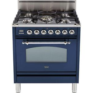 Nostalgie 30 Inch Gas Liquid Propane Freestanding Range in Blue with Chrome Trim