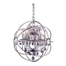 View Product - Geneva 5 light Polished nickel Pendant Silver Shade (Grey) Royal Cut crystal