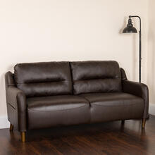 Newton Hill Upholstered Bustle Back Sofa in Brown LeatherSoft
