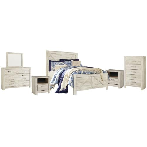 Ashley - Queen Crossbuck Panel Bed With Mirrored Dresser, Chest and 2 Nightstands