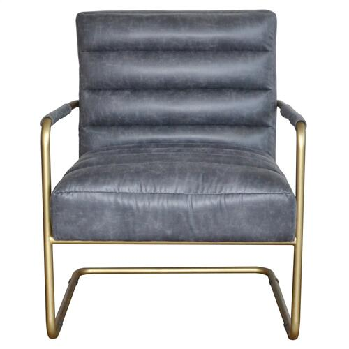 Peyton Bonded Leather Arm Chair Gold Frame, Vintage Midnight