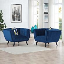 Bestow 2 Piece Performance Velvet Armchair Set in Navy
