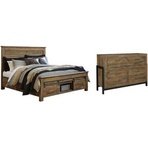 Ashley - California King Panel Bed With Storage With Dresser