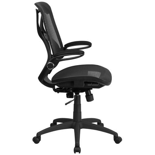 Flash Furniture - High Back Transparent Black Mesh Executive Ergonomic Office Chair with Adjustable Lumbar, 2-Paddle Control & Flip-Up Arms