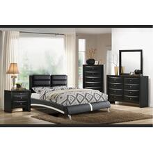 Axel General Bed, Queen, Black-leather