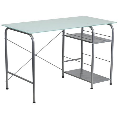 Flash Furniture - Glass Computer Desk with Open Storage
