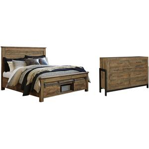 King Panel Bed With Storage With Dresser