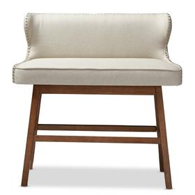Baxton Studio Gradisca Modern and Contemporary Light Beige Fabric Button-tufted Upholstered Bar Bench Banquette