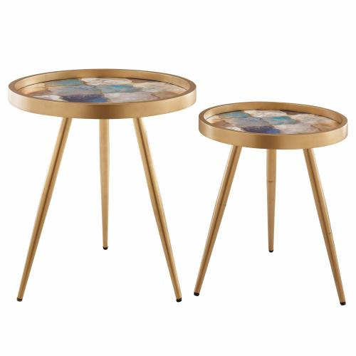 Krista KD Pattern Round End Table Set of 2, Moroccan Rich