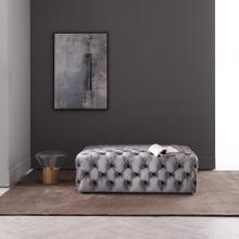 Divani Casa Spiegel Transitional Grey Velvet Tufted Ottoman
