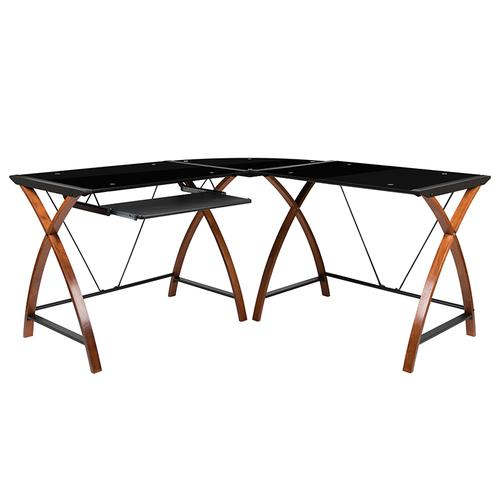 Flash Furniture - Black Glass L-Shape Corner Computer Desk with Pull-Out Keyboard Tray