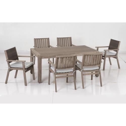Bethany Eucalyptus FSC KD Wicker Dining Arm Chair, Cushion free