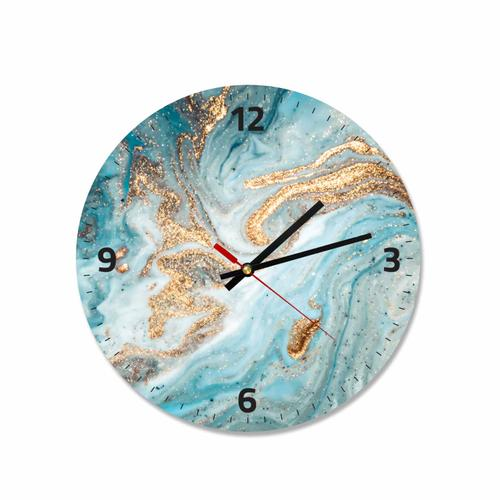 Grako Design - Blue Gold Abstract Round Square Acrylic Wall Clock