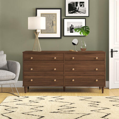 Accentrics Home - Mid Century Six Drawer Dresser in Walnut - KD (Carton 1 of 2)