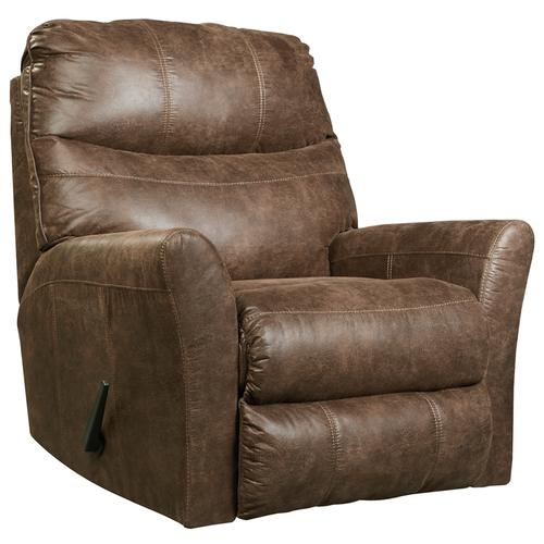 Signature Design by Ashley Tullos Rocker Recliner in Coffee Faux Leather [FSD-8729REC-COF-GG]