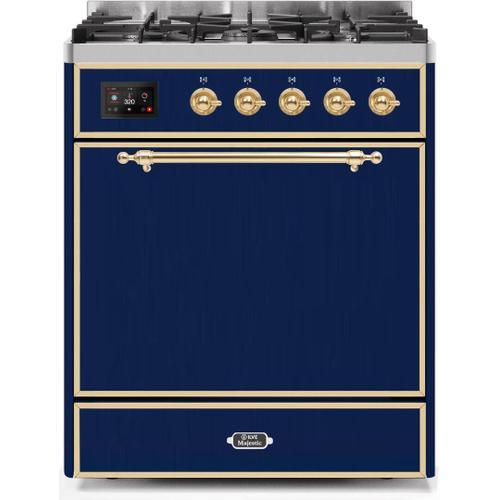 Ilve - Majestic II 30 Inch Dual Fuel Liquid Propane Freestanding Range in Blue with Brass Trim