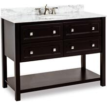 "48"" vanity with Black finish, clean lines, and complementary satin nickel hardware with preassembled top and bowl."