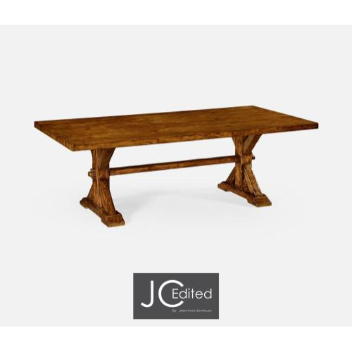 Large solid country walnut topped dining table