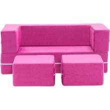 See Details - Critter Sitters Modular Microfiber Sofa for Children's Playroom, Pink, CSCHLDSOFA-PNK