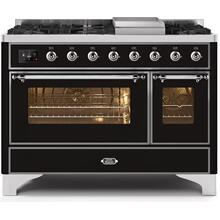 Majestic II 48 Inch Dual Fuel Liquid Propane Freestanding Range in Glossy Black with Chrome Trim