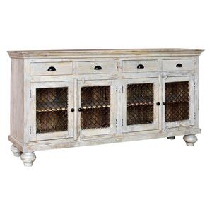 CRESTVIEW COLLECTIONSBengal Manor Mango Wood 4 Drawer, 4 Iron Door Sideboard