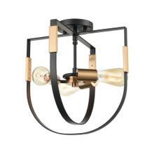 Heathrow 3-Light Semi Flush in Matte Black and Satin Brass