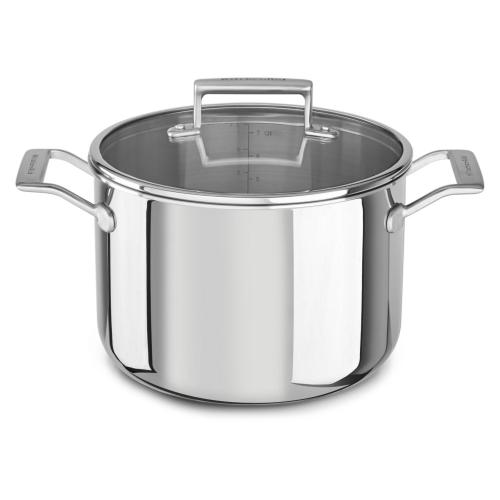 Tri-Ply Stainless Steel 8Q Stockpot with Lid - Sterling Shimmer