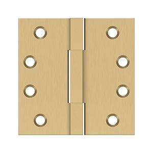 """4""""x 4"""" Square Knuckle Hinges, Solid Brass - Brushed Brass"""