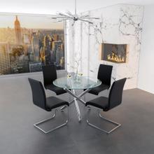 Solara II/Maxim 5pc Dining Set, Chrome/Black