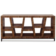 See Details - LEEDS BOOKCASE  Dark Walnut Finish on Mango Wood with Iron Base