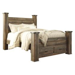 Trinell Queen Poster Bed With 2 Storage Drawers