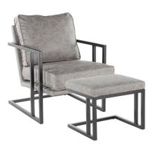 Roman Lounge Chair + Ottoman - Black Metal, Grey Pu