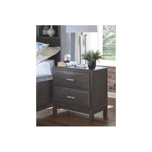 Caitbrook Two Drawer Night Stand Gray