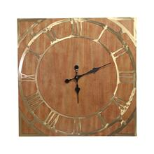 Square Wood/gold Wall Clock, Wb