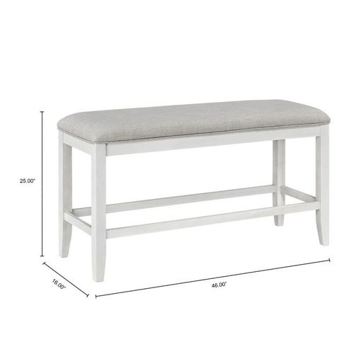 Standard Furniture - Kyle Light Counter Height Upholstered Bench, White