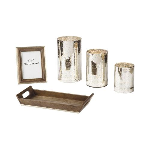 Accessory Set Dexton Brown/Silver Finish