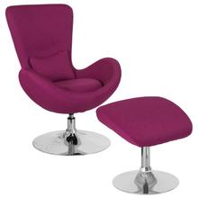 See Details - Egg Series Magenta Fabric Side Reception Chair with Ottoman