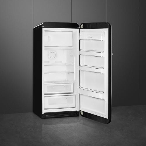"24"" retro-style fridge, Black, Right-hand hinge"