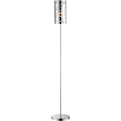 Floor Lamp, Chrome/painted Glass Shade, E27 Cfl 13w