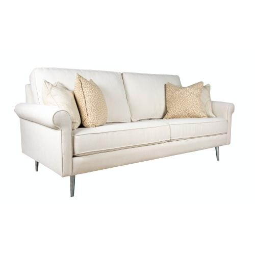 "Contemparary style roll arm sofa. Shown with 8"" round Tapered legs. Also available with 8"" Plinth base, 8"" Pyramid, or 8"" Square tube legs."