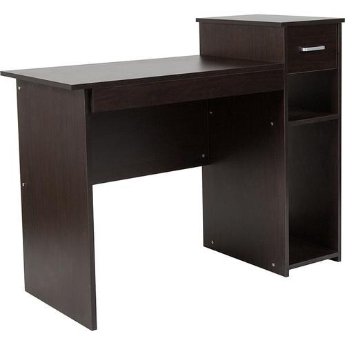 Flash Furniture - Highland Park Espresso Wood Grain Finish Computer Desk with Shelves and Drawer