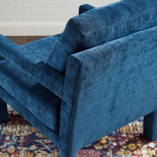 Rehearse Crushed Performance Velvet Armchair in Navy