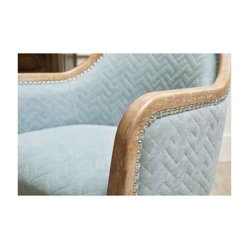 Accentrics Home - Quilted Blue Wood Frame Accent Chair