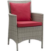 Conduit Outdoor Patio Wicker Rattan Dining Armchair in Light Gray Red