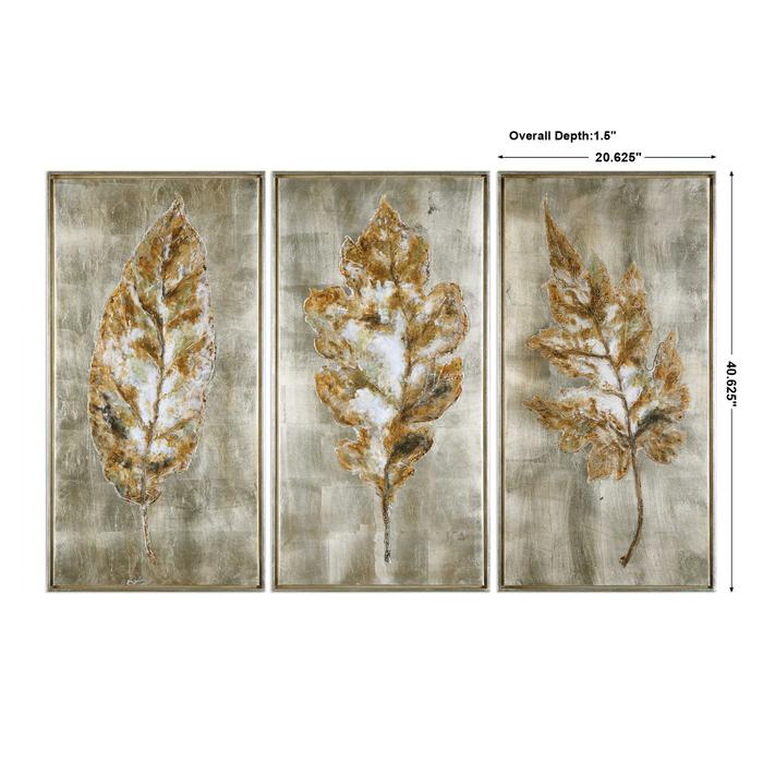 Uttermost - Champagne Leaves Hand Painted Canvases, S/3